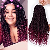6 Packs 20Inch Faux Locs Crochet Hair Synthetic Goddess Braid Twist Crochet Hair Curly Ends Twist Braid Hair Extensions(T1B-BUG)