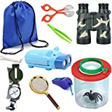 HomDSim 9pcs Outdoor Explorer Kit for Kids,Children Adventurer Exploration Equipment Set,Fun Backyard Bug Catching Adventure Set,Camping,Hunting, Hiking,Pretend Play,Draw Pocket,Binoculars,Flashlight