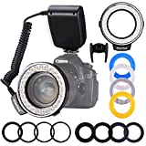 Ring Flash, Shotory LED Macro Ring Light with LCD Display, Adapter Rings and Flash Diffusers for Nikon Canon and Other DSLR Cameras