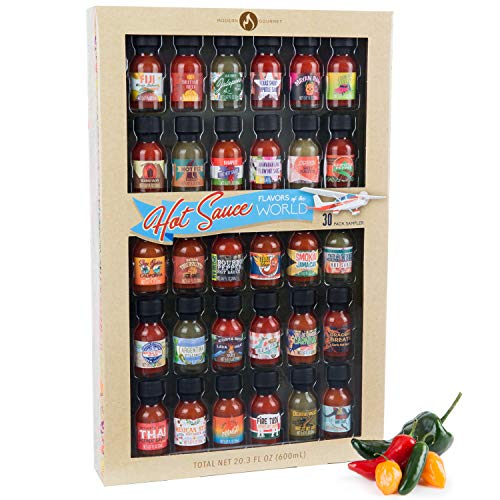Hot Sauce Flavors of the World: 30 Pack Hot Sauce Sampler Set, Inspired by International Hot Sauce Flavors of the World, 30 sample bottles of hot sauce, 0.7 oz each