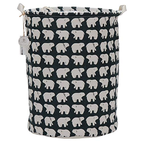 Sea Team 19.7' x 15.7' Large Sized Folding Cylindric Waterproof Coating Canvas Fabric Laundry Hamper Storage Basket with Drawstring Cover, Polar Bear