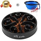 Slow Feeder Dog Bowl Bloat Stop Dog Food Bowl Maze Interactive Puzzle Non Skid, Come with Free Travel Bowl (Black, for Medium Dog and Puppy)