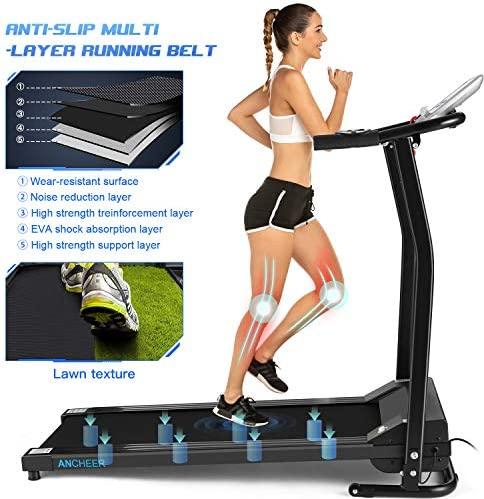 ANCHEER Folding Treadmill, Electric Motorized Treadmill with LCD Monitor, Walking Jogging Running Machine Trainer Equipment for Home & Office Workout Indoor Exercise Machine (Black) 4