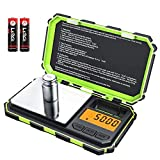 [2019 NEW] Brifit Digital Mini Scale, 200g /0.01g Pocket Scale, 50g calibration weight, Electronic Smart Scale, 6 Units, LCD Backlit Display, Tare, Auto Off, Stainless Steel (Battery Included)-Green