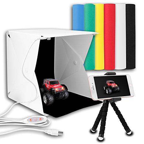 Upgraded Version Portable Photography Studio, Zenic Mini Portable and Folding Photo Light Box Studio Photo Photography Tent Kit with LED Light and Background