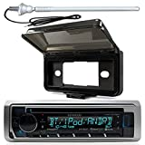 New Kenwood Marine Boat Yacht Outdoor In Dash Bluetooth MP3 USB AM/FM Radio Stereo Player With Splashproof Radio Cover, Marine Radio Antenna - Complete Marine Kit (CD Player)