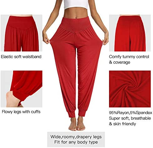 PACBREEZE Women's Harem Yoga Lounge Pants Soft Loose Dance Pilates Workout Pants 3