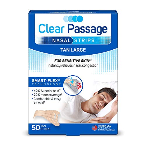 Clear Passage Nasal Strips Large, Tan, 50 ct | Works Instantly to Improve Sleep, Reduce Snoring, Relieve Nasal Congestion Due to Colds & Allergies, Tan