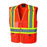 Pioneer V1021950U Hi-Vis Safety Vest with Snaps - Orange ( Small ) Includes Reflective 'X' on Back