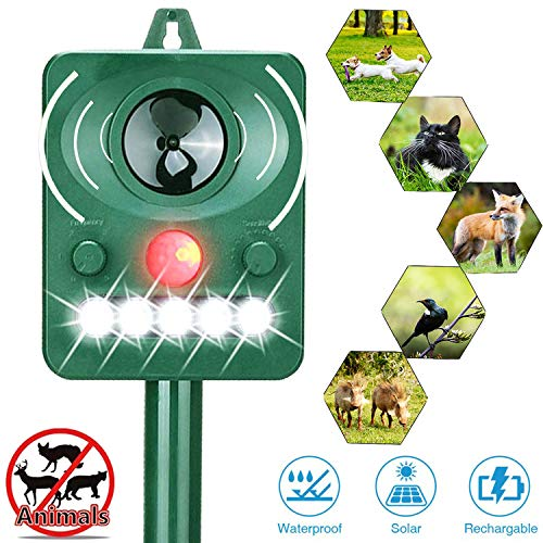 Tengcong Solar Powered Ultrasonic Animal Repeller,Outdoor Weatherproof Repeller,with LED Flashing Light and Ultrasonic Sound, Motion Activated