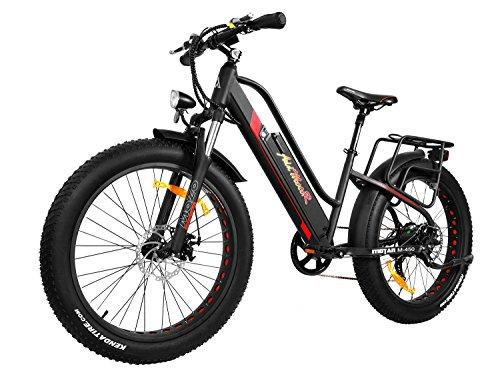 Addmotor MOTAN Electric Bicycle Fitness Bike 26 Inch Fat Tire Full Suspension 500W Motor Mountain Electric Bike 2018 M-450 Commuter E-bike(Black/Red)