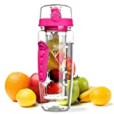 OMorc 32oz/900ml Sport Fruit Infuser Water Bottle, Toxin-Free, Shatter-Resistant and Impact-Resistant with Cleaning Brush, Ideal for Your Office and Home (Shocking Pink)