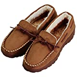 Men's Anti-Slip Casual Plush Lined Microsuede Indoor Outdoor Slip On Moccasin Slippers US 12 Brown (FBA)