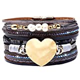DESIMTION Leather Wrap Cuff Boho Heart Multilayer Magnetic Pulseras de Mujer Wide Handmade Wristbands Wrist Braided Buckle Casual Bangle Bracelets for Women Teen Girls Gifts (M-Grey Heart)