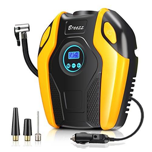 Breezz Air Compressor, 12V DC Portable Auto Tire Pump with Digital Display Pressure Gauge up to 150PSI for Car, Bicycle and Other Inflatables (Orange-1)