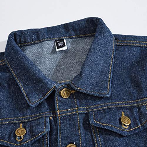 HJuyYuah Men's Autumn Winter Casual Long Sleeve Turn-Down Collar Solid Denim Jacket Coat deal 50% off 51S32asikwL