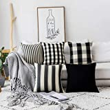 Home Brilliant Decorations Pillows Covers Set Black and White Throw Pillow Covers Textured Linen Cushion Covers for Sofa Solid Stripes Checker Plaid, Set of 5, 18 x18 inches (45cm)