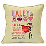 Personalized Presents Gifts for Her Girls Teens Kids Children Best Friends Birthday Christmas Xmas End of Term Party Disney Superhero Batwoman Wonder Super Girl Cushion with Inner 18 inch 45 cm