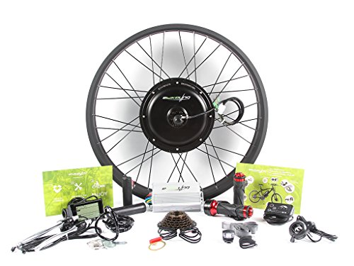 """EBIKELING 48V 1500W Direct Drive Motor FAT Front Rear Wheel 26"""" e-Bike Conversion Kit Electric Bicycle (Front, Twist/LCD)"""