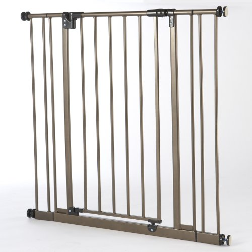 "North States 38.5"" Wide Extra-Tall Easy-Close Baby Gate: Equipped with triple locking system - Ideal for doorways needing taller barriers. Pressure mount. Fits 28""-38.5"" wide (36"" tall, Bronze)"