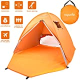 ROPODA Beach Tent, Portable Pop up Sun Shelter-Automatic Instant Family UV 2-3 Person Canopy Tent Camping,Fishing,Hiking,Picnicing-Outdoor Ultralight Canopy Cabana Tents Carry Bag(Orange)