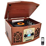 Pyle Vintage Turntable - Retro Vinyl Stereo System With Bluetooth, Cassette and CD Player, USB Reader, SD Card and Speakers - Audio Files to MP3 with Remote and LCD (PTCDS7UIW)