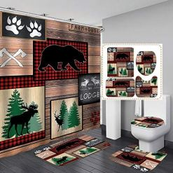 Cabin Shower Curtain 4pc Bath Set