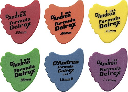D'Andrea 390 Sharkfin Delrex Delrin Guitar Picks 0.88 mm 12 pack