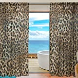 MAHU Sheer Curtains Animal Leopard Print Pattern Window Voile Curtain Drapes for Living Room Bedroom Kitchen Home Decor 55x78 inches, 2 Panels