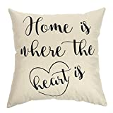 "Ogiselestyle Unique Pillow Shams Beautiful Cotton Linen Home Is Where The Heart Is Pattern Sofa Simple Home Decor Throw Pillow Case Cushion Cover 18"" x 18"""