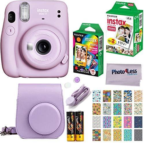 Fujifilm Instax Mini 11 Instant Camera + Fujifilm Instax Mini Twin Pack Instant Film (16437396) + Single Pack Rainbow Film + Case + Travel Stickers (Lilac Purple)