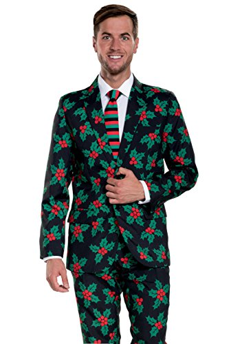 tipsy elves mens black holly mistletoe ugly christmas suit - Christmas Suits For Mens