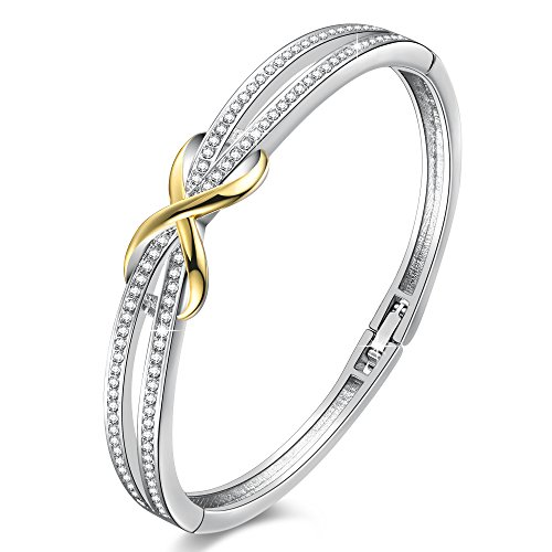 Angelady 14K Gold Plated Encounter Bangle Bracelet for Women Girls,Crystals from Swarovski,Infinity Lucky Endless Love to her Xmas Thnaksgiving Day Mom Wife Gift New Year