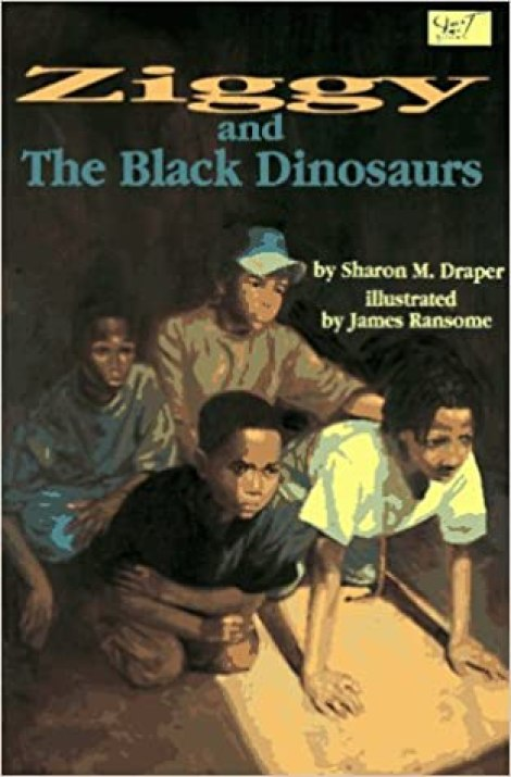 a book cover image of 4 African American boys.  They are kneeling on the ground looking at something.