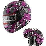 MRC Motorcycle Flip up Modular Full Face DOT Helmet Pink (M)