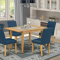 5Pc Rectangle 42/53.5″ Dinette Table With 12 In Leaf And Four Parson Chair With Oak Leg And Pu Leather Color Oasis