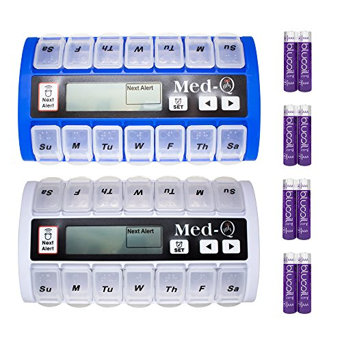 MED-Q Medication Compliance System Programmable Smart Pill Box (1 White, 1 Blue) Bundle with 4 Blucoil AAA Batteries