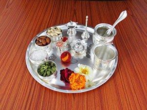 GoldGiftIdeas-Silver-Plated-Sarovar-Pooja-Thali-Set-Silver118-Inch-X-118-Inch-X-19-Inch