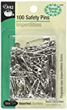 Dritz 1460 Safety Pins, Nickel Plated Steel, Assorted Sizes (100-Count)