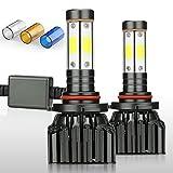 ZDATT 9005 H10 HB3 LED HeadLight Bulbs100W 12000LM Conversion Kit Full Lights High Beam 360 Degree Lighting for Car Lamp Replacement-Amber(3000K)/White(6000K)/Light-Blue(8000K)-2 Years Warranty