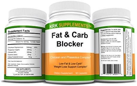 2 Bottles Fat and Carb Blocker with Phaseolus Vulgaris (White Kidney Bean Extract) Chitosan Extreme Diet Pills Weight Loss 180 Total Capsules KRK Supplements 2