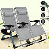 Artist Hand 350LBS Capacity Set of 2 Pack Zero Gravity Outdoor Lounge Chair w/Cup Holder with Mobile Device Slot Adjustable Folding Patio Reclining Chair W/Snack Tray