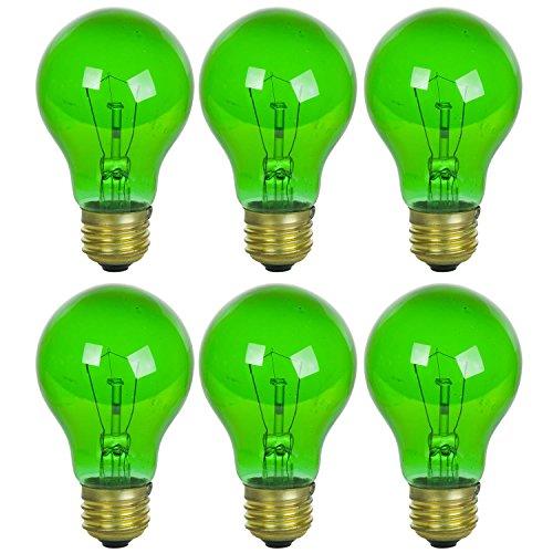 Sunlite 25A/TB/G/6PK Incandescent Green A19 25W Light Bulbs, Medium (E26) Base, 6 Pack, Transparent