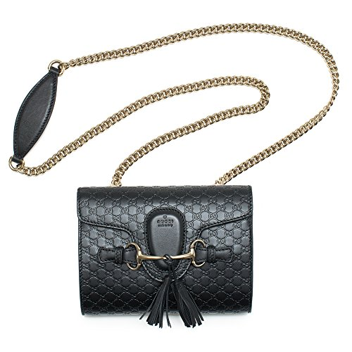 """51SGu72mf0L Gucci 369621 guccissima handbag black Handbag Bag New Authentic Leather Shoulder Bag Made in Italy. New with Tags (Emily) Black Calf Leather Heat Embossed GG Micro Guccissima Pattern Sliding Double Chain Straps for Shoulder or Crossbody Wear 10"""" Drop Using Double Straps as Shoulder Bag 20"""" Drop Using Crossbody Feature Light Golden Hardware Leather Tassels and Horsebit Accents Interior Open Pocket Slide Flap Closure with Embossed Gucci Trademark Cotton Linen Lining Measures 10"""" x 6.6"""" x 2.9"""" Interior """"Gucci"""" Leather Tab Interior Serial Number Gucci Dust Bag Made in Italy Condition: New with Tags What is Included: Bag, Tags, Dust Bag and Controllato Card Color: Black Size: Small"""