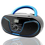 LONPOO CD Player Portable CD Boombox with FM Radio/USB/Bluetooth/AUX Input and Earphone Jack Output with Stereo Sound Speaker Audio Player