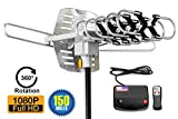 ViewTV Outdoor Amplified Digital HDTV Antenna - 150 Mile Range - Motorized 360° Rotation - 40FT Coax Cable - Wireless Remote Control - UHF/VHF 4K 1080P Channels