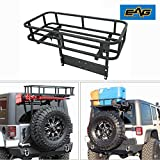 EAG Rear Bumper W/Tire Carrier Rear Cargo Basket Fit for Jeep Wrangler