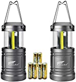 HAUSBELL Portable Lanterns with Magnetic Base, Cob LED Camping Lantern Collapsible Flashlights - Survival Kit for Emergency, Hurricane, Storm, Power Outage (2 Pack+Batteries)