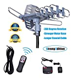 Will Brands 150+Miles Range Outdoor Amplified Digital TV Antenna-4K/1080p High Reception 40FT RG6 Cable-Motorized 360Degree Rotation Wireless Remote Control with Snap On Installation-2TVs Function