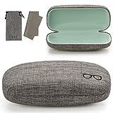 Vemiss Hard Shell Eyeglasses Case Soft Linen Fabrics Portable Glasses Sunglasses Box (Large, Gray)